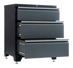 Garageinredning golvskåp 3 lådor grå