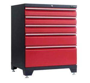 Garageinredning golvskåp 5 lådor i föd färg